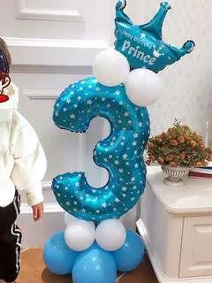 生日 氣球數字 場地裝飾 生日party 歲數 0歲 百日宴