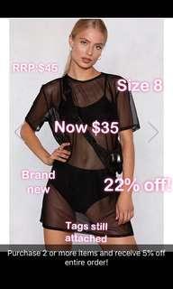 Black mesh dress two piece