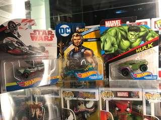 Hot Wheels Character Cars Star Wars, DC aquaman, marvel Hulk