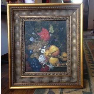 Lukisan buah buahan + bunga mawar