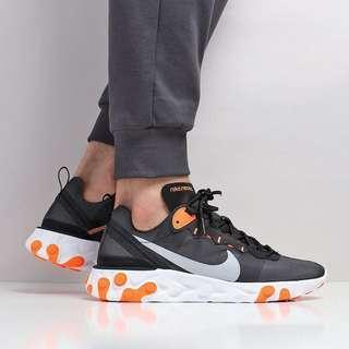 Nike React Element 55 Shoes – Black/Wolf Grey/Total Orange/White