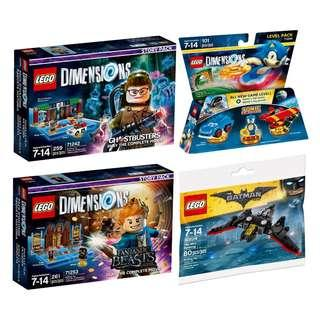 LEGO Dimensions Combo Sale- Ghostbusters™ Story Pack  71242, Fantastic Beasts and Where to Find Them™ Story Pack 71253, Sonic 71244 & Free mini Batwing 30524 Polybag