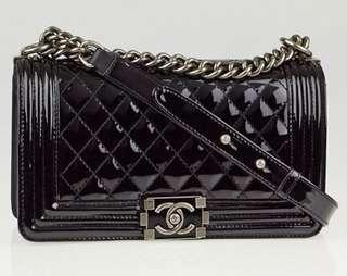 Boy Chanel 25cm 黑色漆皮