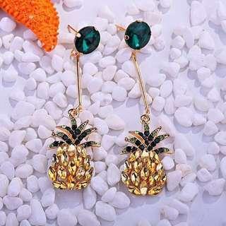 Chic Pineapple Swarovski Statement Crystal Earrings 🍍🍍