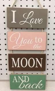 """Wooden Wall Plaque """"I Love You To The Moon and Back"""""""