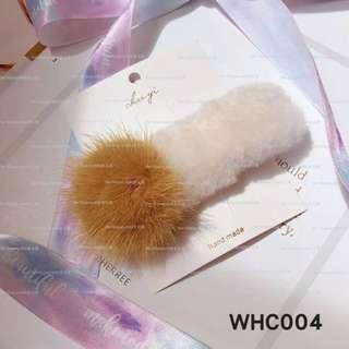 【Her Majesty的秘密花園】韓版仿羊羔毛毛球邊夾側夾髮飾髮夾WHC004