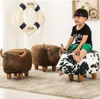 #next30 Rustic brown cow bull furniture stool
