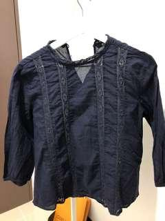 Uniqlo Cotton Lacey Blouse in Navy