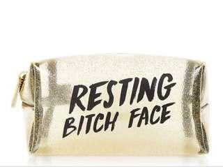 London Brand - Skinny Dip London Resting bitch face make up pouch glitter christmas gift gold