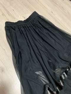 Black chiffon maxi skirt