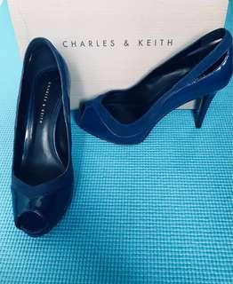 ❗️50% OFF!!! BRAND NEW Charles & Keith Peep Toe Platform Shoes (Blue)