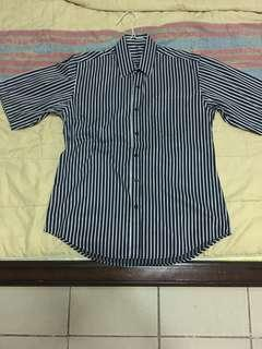 White blue stripe shirt