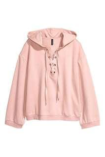 H&M hooded with lacing - soft pink