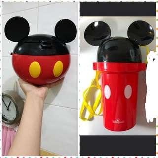 Fast deal $30 - Mickey mouse popcorn tubs x2 / bottles / containers