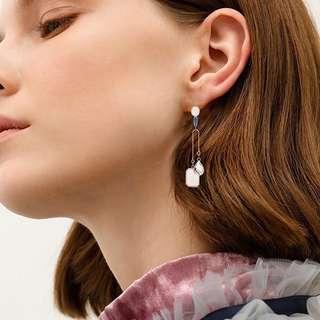 Minimalist Modernist Mismatched Swarovski Crystal Earrings #1