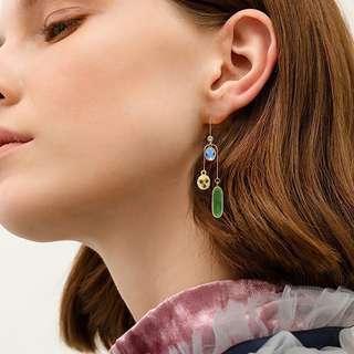 Minimalist Modernist Mismatched Swarovski Crystal Earrings #6
