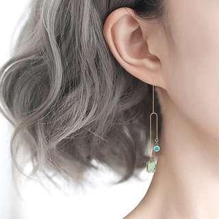 Minimalist Modernist Mismatched Swarovski Crystal Earrings #7