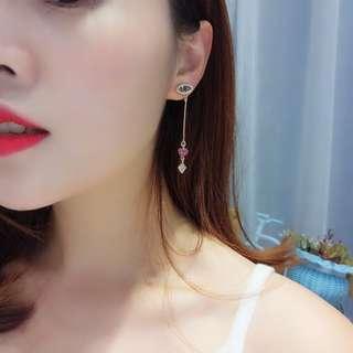 Minimalist Modernist Eye & Heart Diamond Drop Earrings from Korea