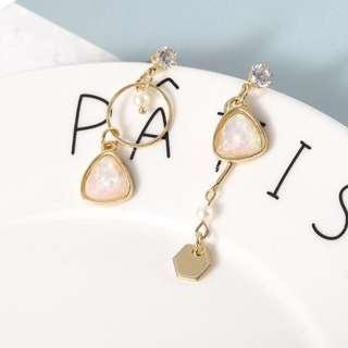 Minimalist Modernist Asymmetric Pearl & Crystal Earrings (Pink) from Korea
