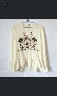 ZARA WOMAN Embroidered Longsleeve Top