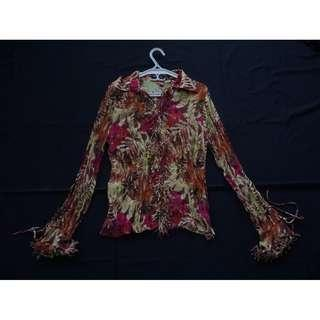 Women's Retro Long-sleeved Floral Fringe Top