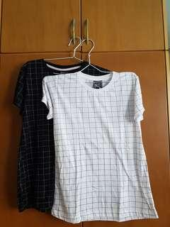 Grid Tshirt checkered plaid black white lines