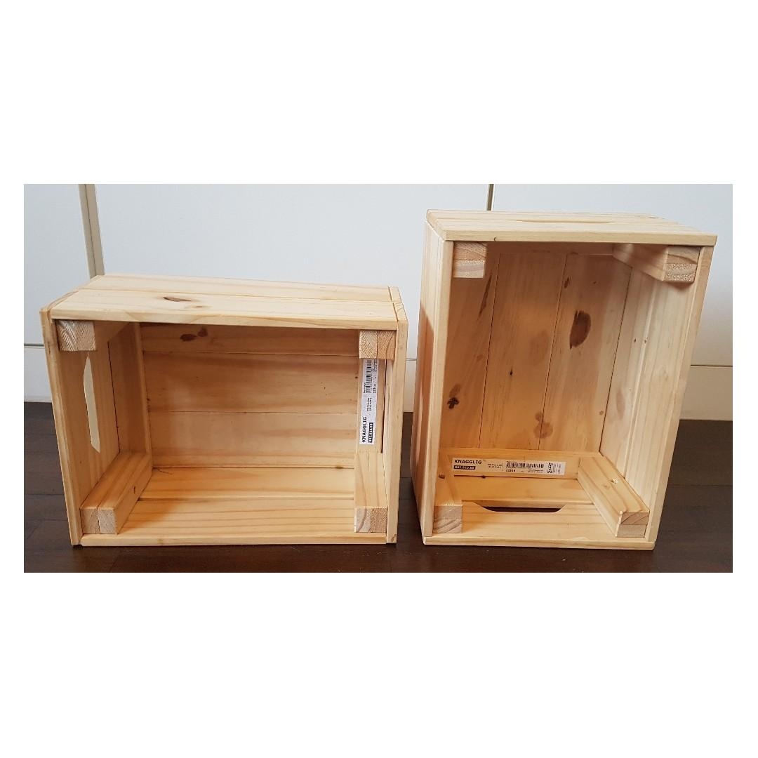 2 Pieces Ikea Knagglig Crate Box Pine Small Furniture Home Decor