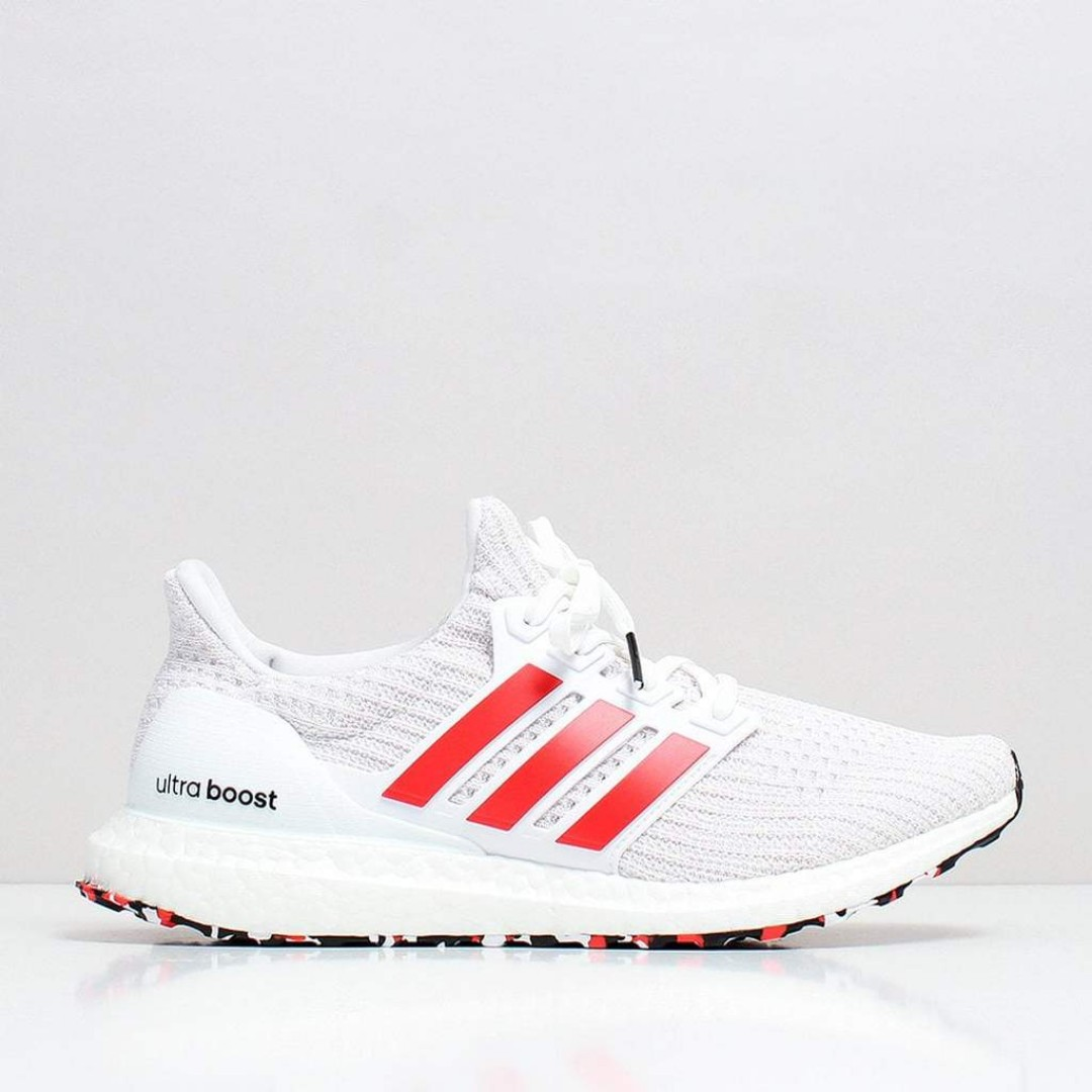 ff25c2940e381 Adidas UltraBOOST Shoes – Footwear White Active Red Chalk White ...