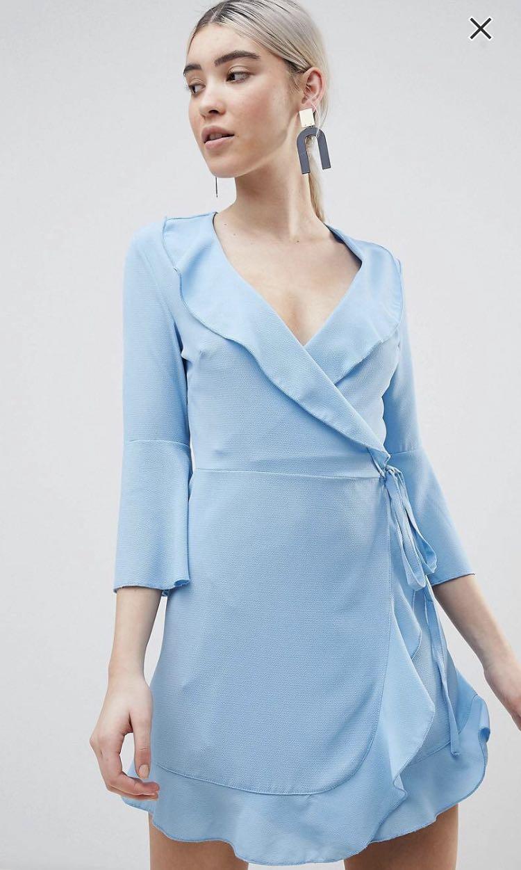 16853b21816 ASOS Outrageous Fortune Ruffle Wrap Dress with Fluted Sleeve ...