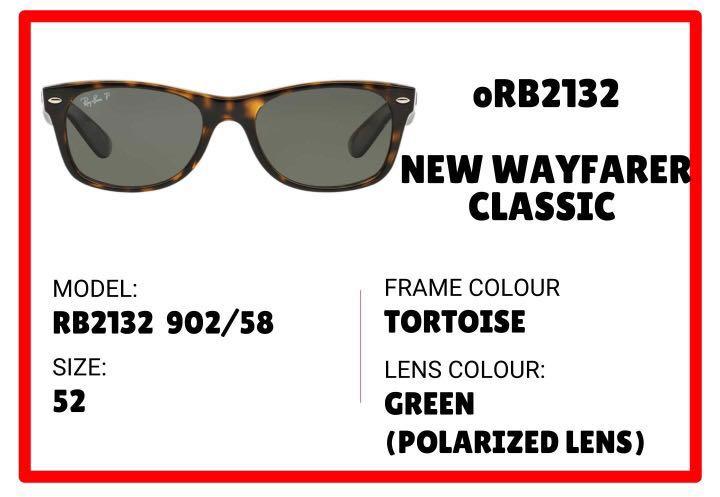 4b66d149cd6 Authentic Ray Ban New Wayfarer Classic Sunglasses  RB2132
