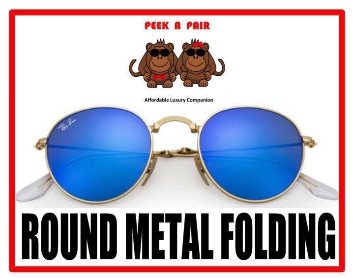 0f2c98b3619 Authentic Ray Ban Round Metal Folding Sunglasses  RB3532