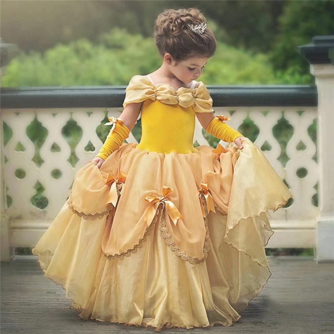 Beautiful Belle Girls Dress Yellow Princess Cosplay Costume Birthday