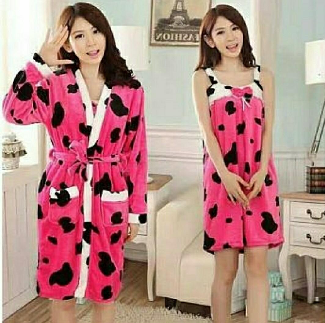 Ec Set Bludru Cow Fanta l atasan fashion baju tidur baju kimono handuk baju  mandi baju bulu wanita 3058e21429