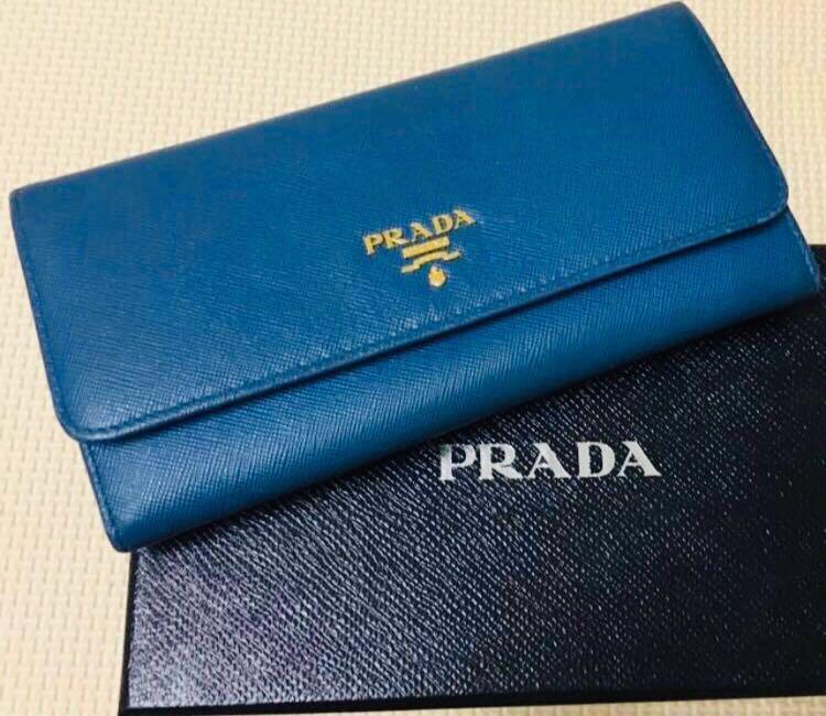 26118d7932cd4d EUC Authentic Prada Cobalt Saffiano Long Wallet, Luxury, Bags ...