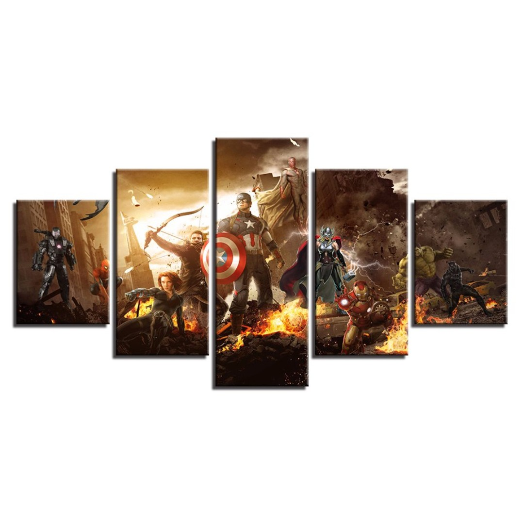 Framed print avengers movie superheros captain america iron man spider man black panther wall art canvas room office decoration artwork