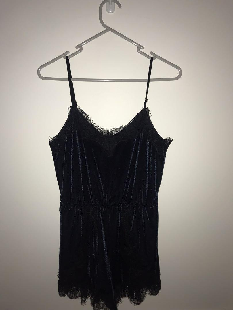 Glamorous velvet and lace playsuit - never worn but hand washed once