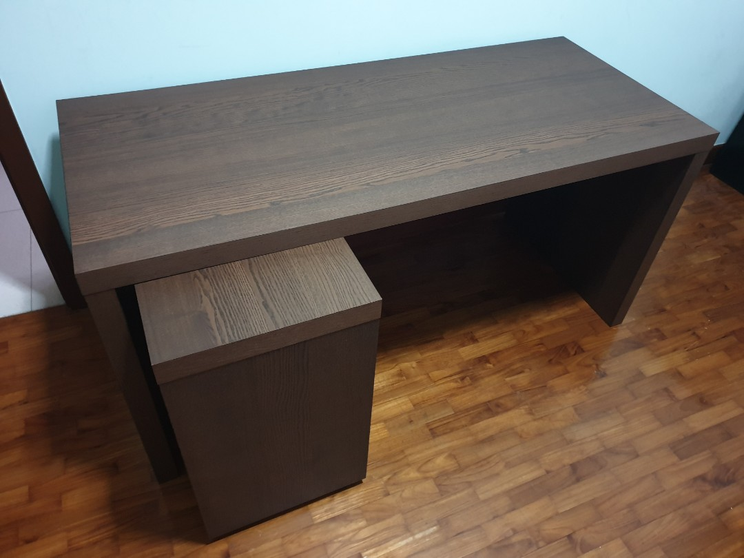 Ikea Malm Black Brown Desk With Pullout Panel Price Cut Furniture