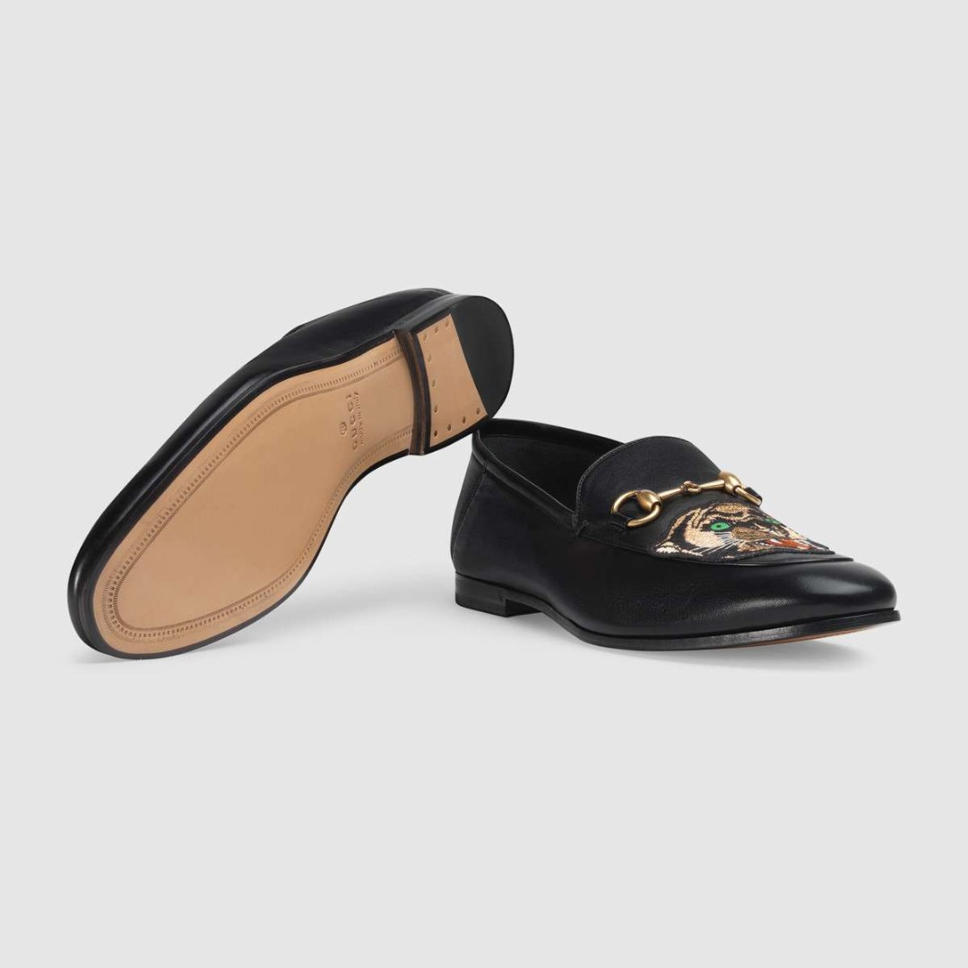 922bb495544 Leather Horsebit loafer with panther