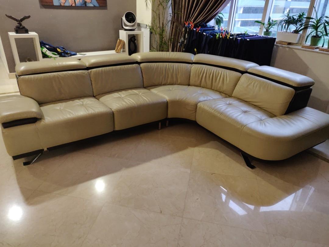 L Shape Designer Leather Sofa Dual Tone Furniture Sofas On Carousell