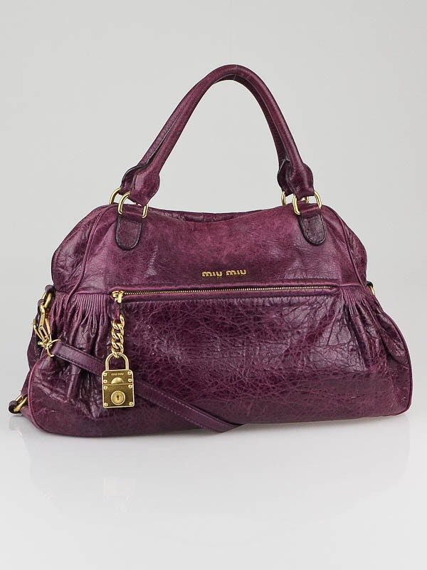 9469ddc26c1a Miu Miu Purple Napa Leather Charm Satchel Bag