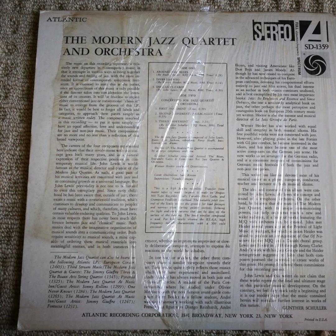 Modern Jazz Quartet and Orchestra Atlantic 1359 Vinyl LP Album Stereo Near NEW