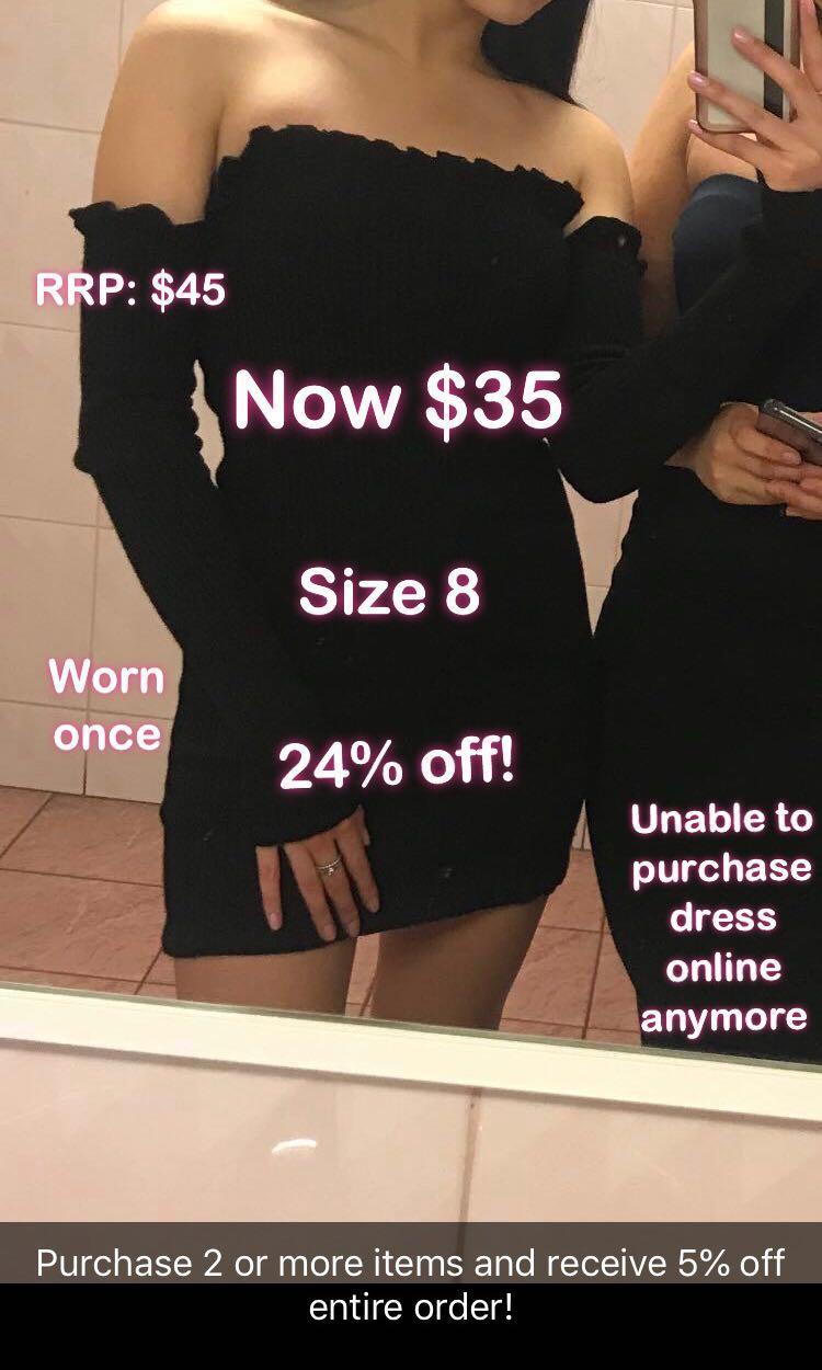 Off the shoulder long sleeve dress- Black (S)