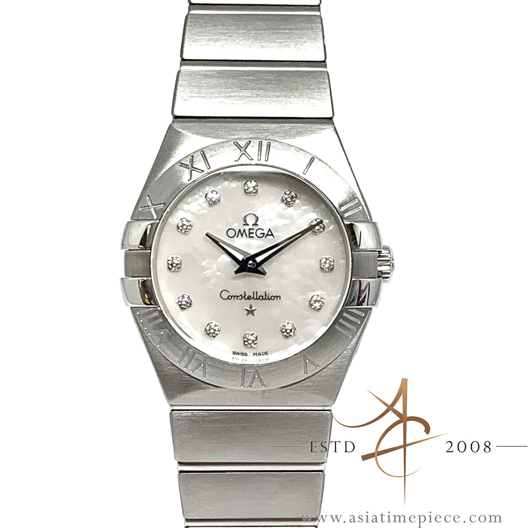 332c0ac3a39 Omega Constellation Mother of Pearl Diamond Dial Ladies Quartz Watch ...