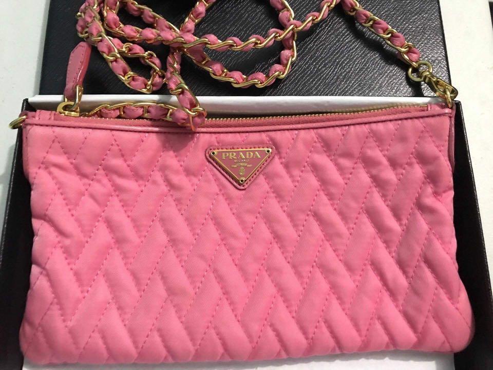 PRADA Tessuto Impuntu Nylon Quilted Sling Bag Pink (Preloved ... 1f10b2fd7e