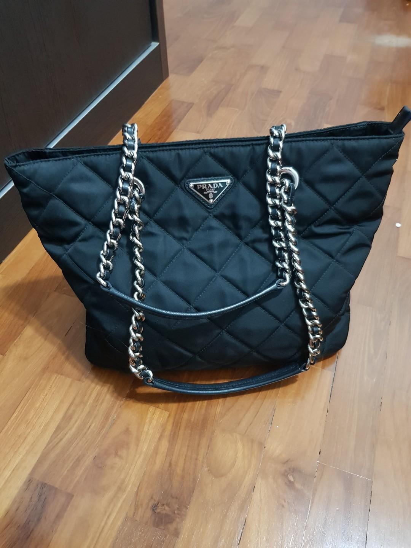 3fd3d2805f36 Preloved Authentic Black Prada Nylon Tote Bag (not hermes