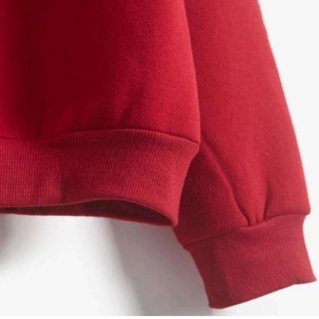 red mock neck pullover