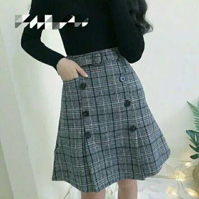 Rok mini a-line Skirt gray abu abu trend korea style Free belt Import fashion wanita b, Women's Fashion, Women's Clothes, Dresses & Skirts on Carousell
