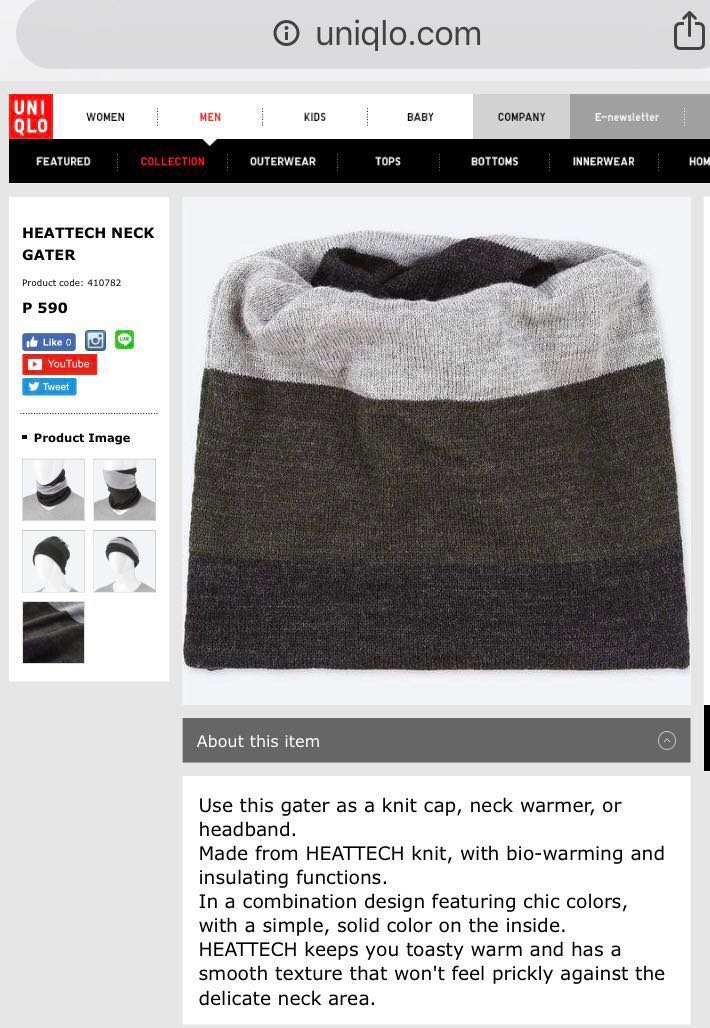 8653d16c852 Uniqlo Heattech Neck 4-in-1 Winter and Cold Weather Warmer Gater (590 PhP  SRP)