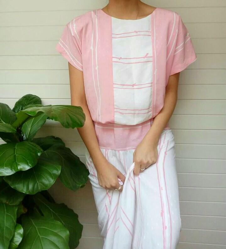 Vintage pink and white dress