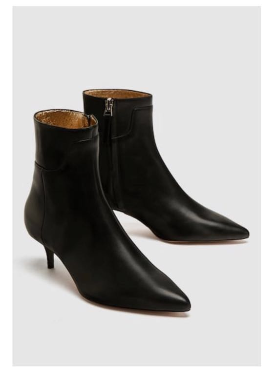33127369ba0 Zara Heeled Leather Ankle Boots with Zip  Next30 36